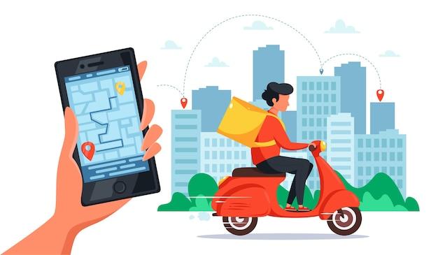 스쿠터 배달 서비스 개념. 배달 상자가있는 스쿠터로 택배를 타고, 온라인 추적 기능이있는 스마트 폰을 들고 손을. 플랫 스타일.