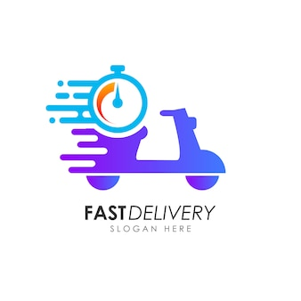 Scooter fast delivery logo design. courier logo design template