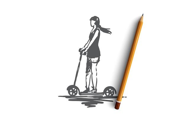 スクーター、女の子、乗り物、自転車、ドライブのコンセプト。スクーターの概念スケッチで運転している手描きの女性。図。