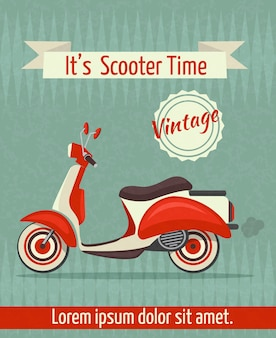 Scooter motorbike retro vintage transport sport paper poster with ribbon vector illustration