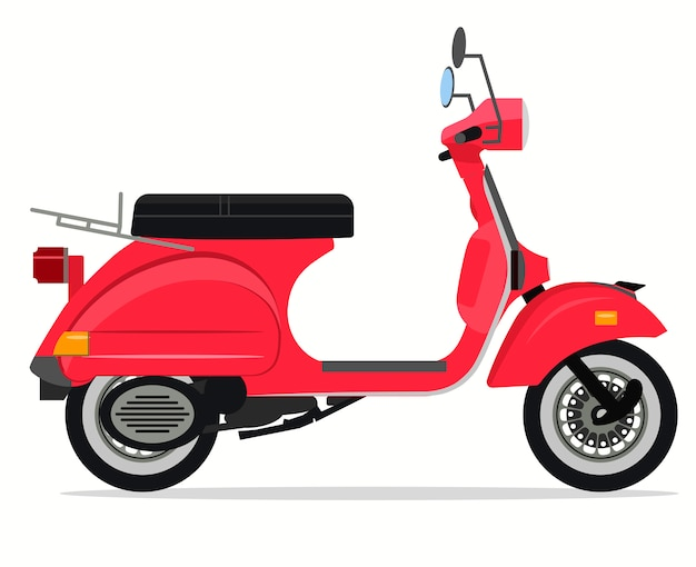 Скутер мотоцикл старого образца, доставка мопедов, городской транспорт. вектор