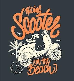 Скутер на иллюстрации пляжа
