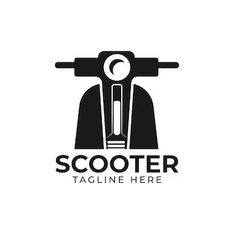Прокат скутеров. эмблема классический скутер. векторная иллюстрация старинного скутера на белом фоне. транспортный логотип. векторная иллюстрация