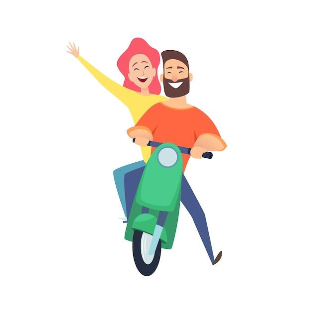 Поездка на скутере. счастливые всадники мужчина женщина. милая мультипликационная пара на свидании. мужчины-женщины водители векторные иллюстрации. ездить на скутере женщина и мужчина, велосипедный транспорт