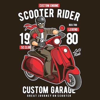 Scooter rider retro