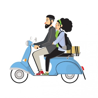 Scooter riding couple