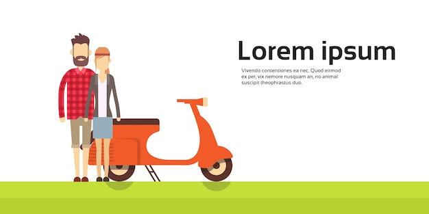 Пара мотоциклов scooter transport banner