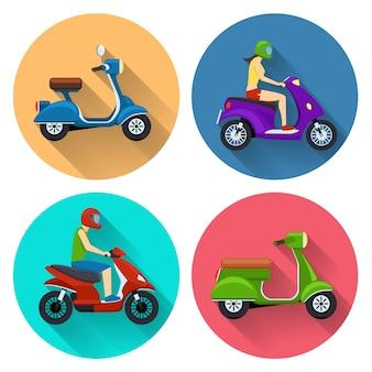 스쿠터 전송 세트. 오토바이 그림, 오토바이 측면보기, 자전거 운송, 운전자가있는 오토바이