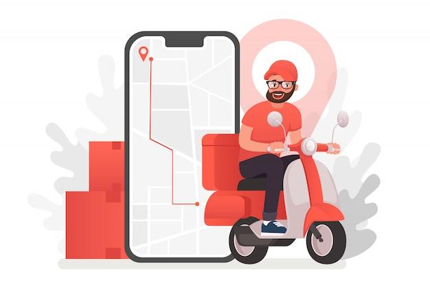 배달 남자 캐릭터와 스쿠터입니다. 식당 식품 서비스, 우편 배달 서비스, 우편 직원 전자 장치를 사용하여 지리적 위치 결정