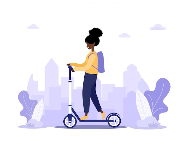 Scooter with fast woman courier. modern illustration in flat cartoon style.