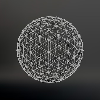 Размах линий и точек. шар из линий, соединенных с точками. молекулярная решетка. структурная сетка полигонов. черный фон. помещение расположено на черном студийном фоне.