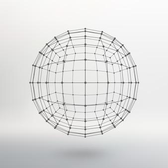 Размах линий и точек. шар из линий, соединенных с точками. молекулярная решетка. структурная сетка полигонов. белый фон. объект расположен на белом фоне студии.