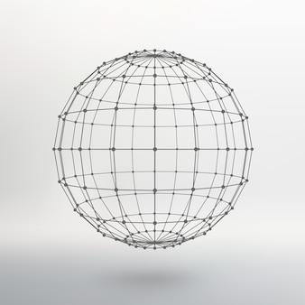 線と点の範囲。ポイントに接続された線のボール。分子格子。ポリゴンの構造グリッド。白色の背景。施設は白いスタジオの背景にあります。
