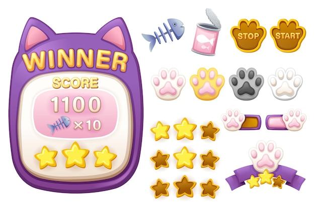 Menu del punteggio e kit gui del modello di gioco delle risorse. menu punteggio interfaccia per creare app e giochi web e mobili