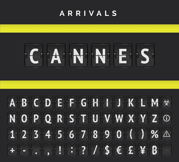 Scoreboard analog font. arrival airport board countdown, railroad arrivals and departures flip board letters. vector symbol type