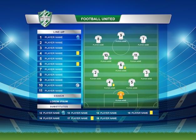 Scoreboard broadcast starting line up template