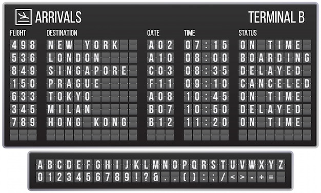 Scoreboard flip font. arrival airport signs board, railroad arrivals and departures scoreboards letters realistic  set