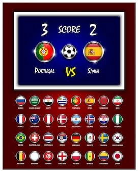 Scoreboard of football match