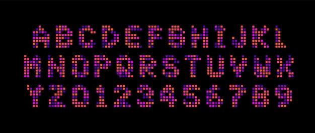 점수 판 문자와 숫자를 설정합니다. 디지털 화면, 정사각형 모자이크, led 스타일 벡터 라틴 알파벳. 타이포그래피 디자인.