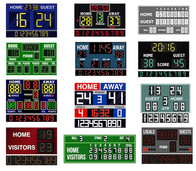 Scoreboard time and clock information displays team score game illustration.