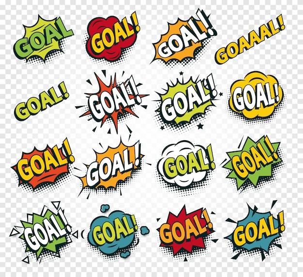 Scored goal sticker, comics speech set illustrations template.