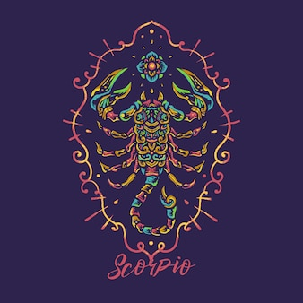 Scorpio zodiac hand drawn mandala illustration