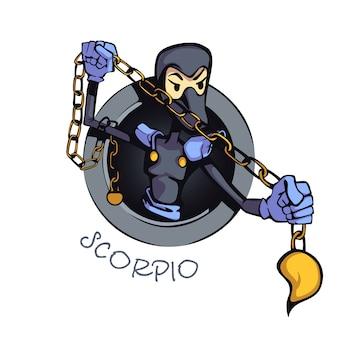 蠍座星座人フラット漫画。占星術の水のシンボルの特徴。商用の印刷デザインに2d文字を使用する準備ができました。分離されたコンセプトアイコン
