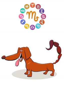 Scorpio zodiac sign with cartoon dog