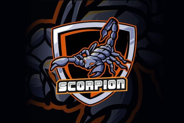 モダンなイラストコンセプトのスコーピオンeスポーツとスポーツマスコットのロゴデザイン