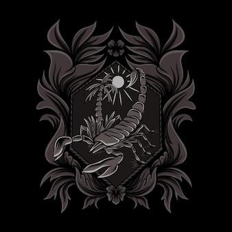 Scorpion illustration in ornament style