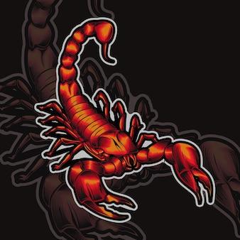 Вектор дизайна логотипа талисмана скорпиона с современным стилем концепции иллюстрации