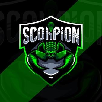 Скорпион талисман логотип дизайн киберспорт