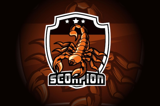 Scorpion mascot for sports and e sports logo isolated on dark background