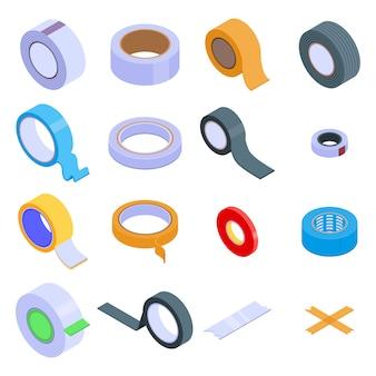 Scotch tape icons set