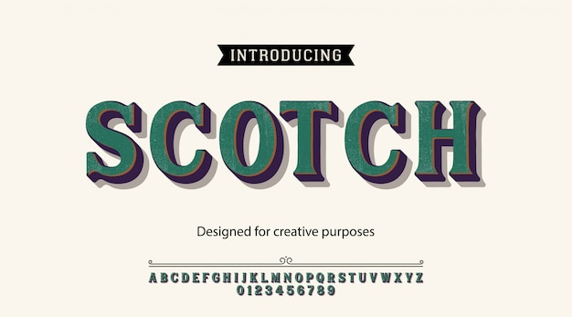 Scotch typeface.for labels and different type designs