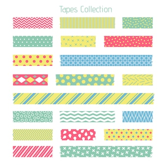 Scotch with trendy geometric pattern. adhesive tape for scrapbook set