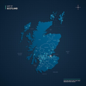 Scotland map with blue neon light points