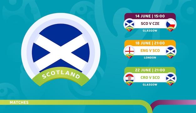 スコットランド代表チームのスケジュールは、2020年のフットボール選手権の最終段階で試合を行います。サッカー2020の試合のイラスト。