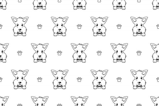 Scottish terrier dog seamless pattern