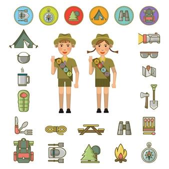 スカウトの男の子と女の子は、ベクトルのカラフルなポスターの周りに名誉の手のジェスチャーと必要な機器のセットとサインを示しています。サマーキャンプの子供たち
