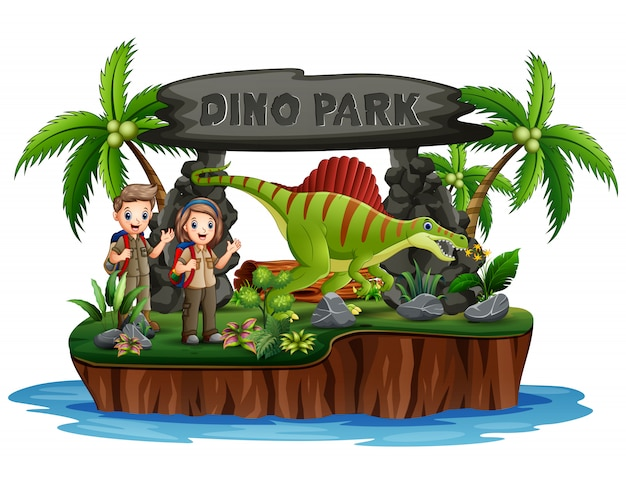 Scout boy and girl with dinosaurs in dino park