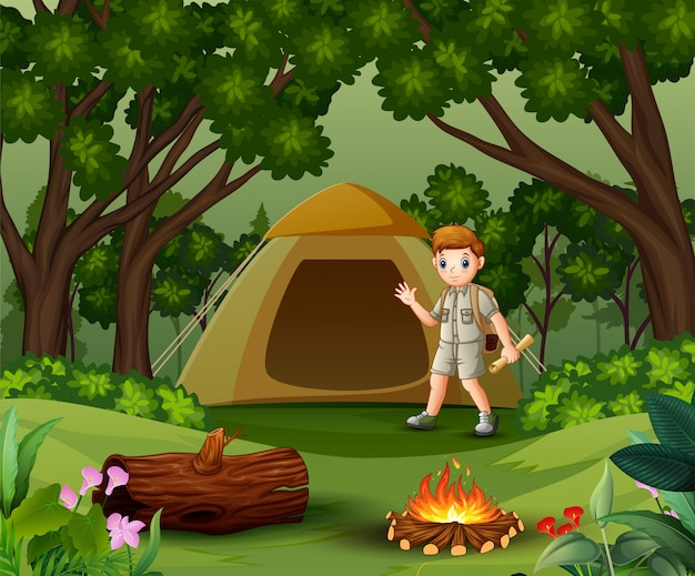 Scout boy on outdoor with tent and backpack