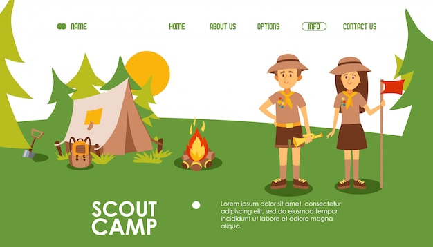 Scout camp website,   illustration. landing page template for summer camping, outdoor scene with tent, campfire and scout leaders. friendly man and woman cartoon character