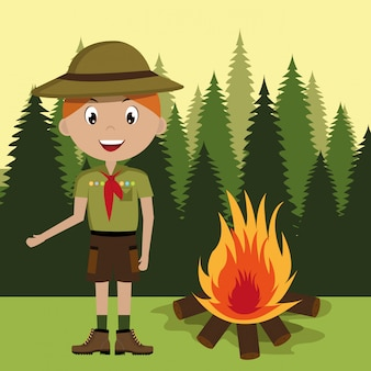 Scout character with campfire  isolated icon design