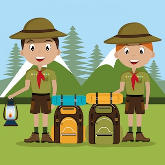 Scout character with travel bag isolated icon design