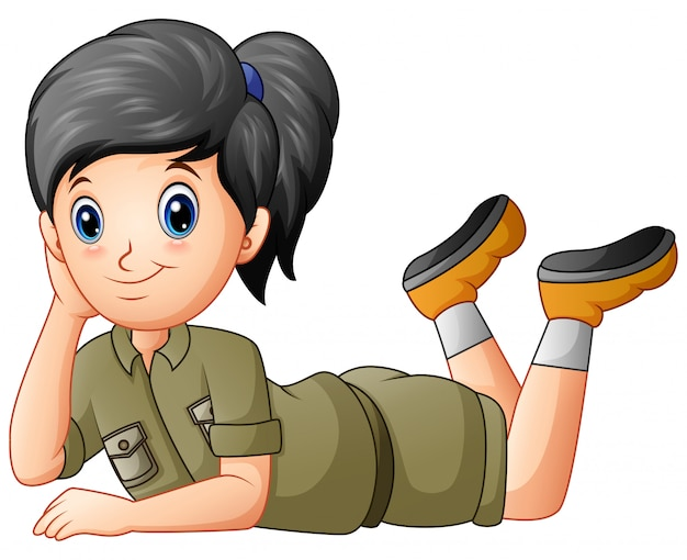 Scout girl cartoon lying on white