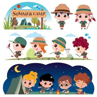 스카우트 키즈 캐릭터 여름 캠프 스카우트 여름 캠프 키즈