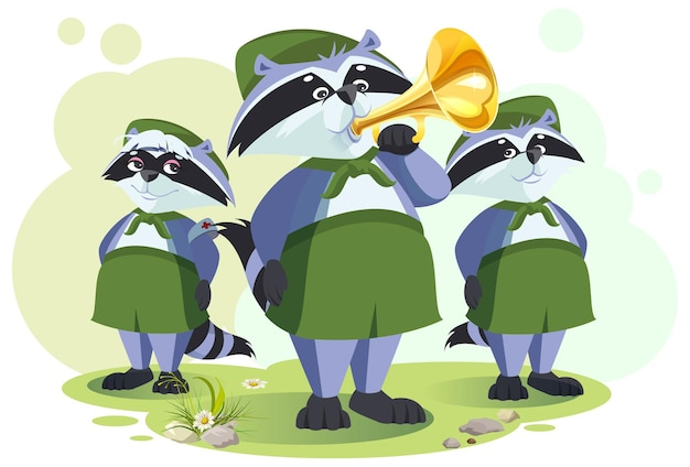 Scout raccoon horner do bugle call. bugle ceremony in tourist camp. vector cartoon illustration