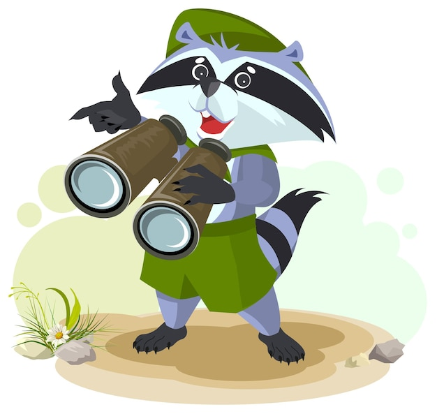 Scout raccoon with binoculars