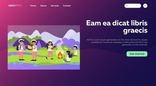 Scouts in camping flat illustration. landing page or web template